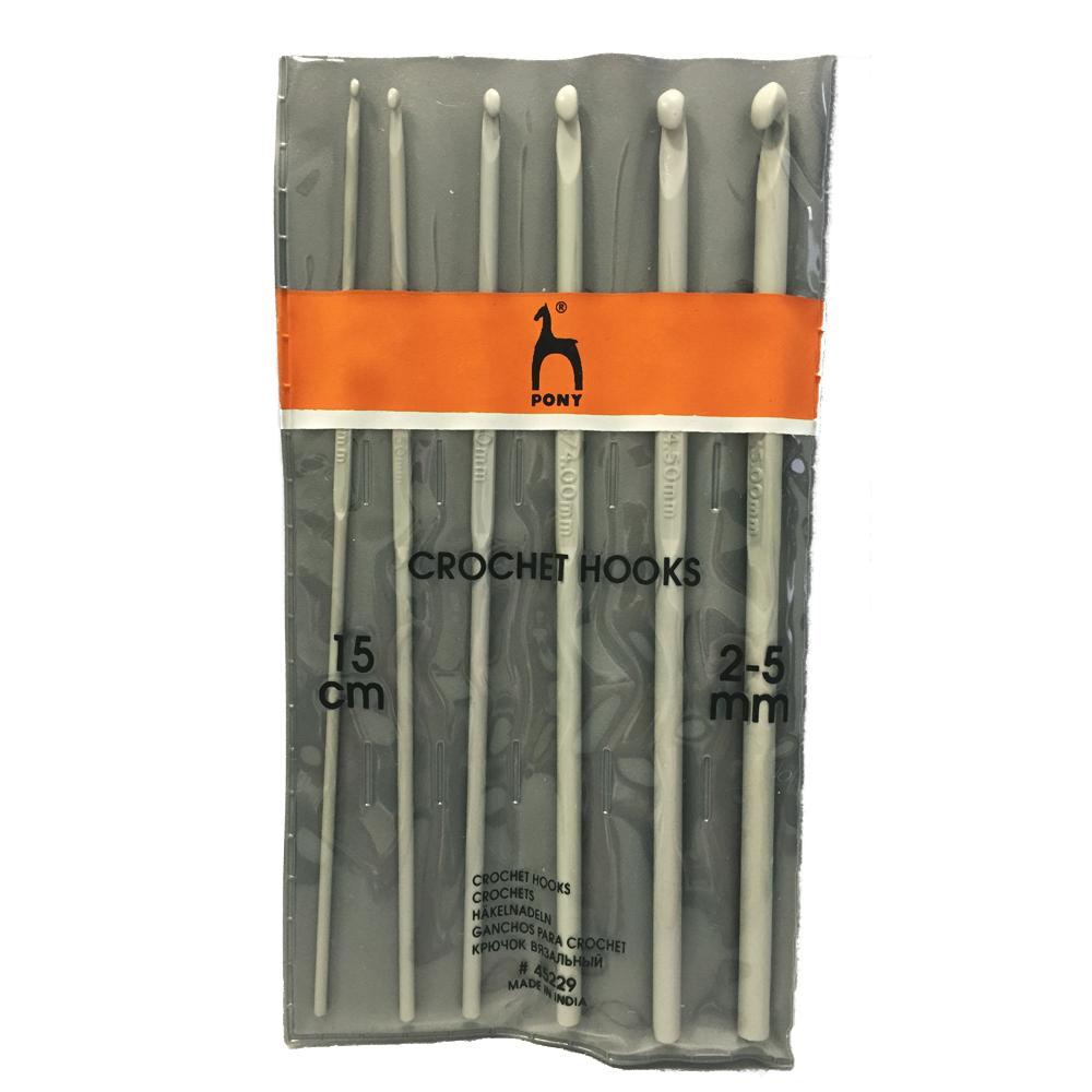 45229 PONY Набор крючков вязальных 2-5 мм 15 см, 6 крючков, шт заказать в Беларуси дешево