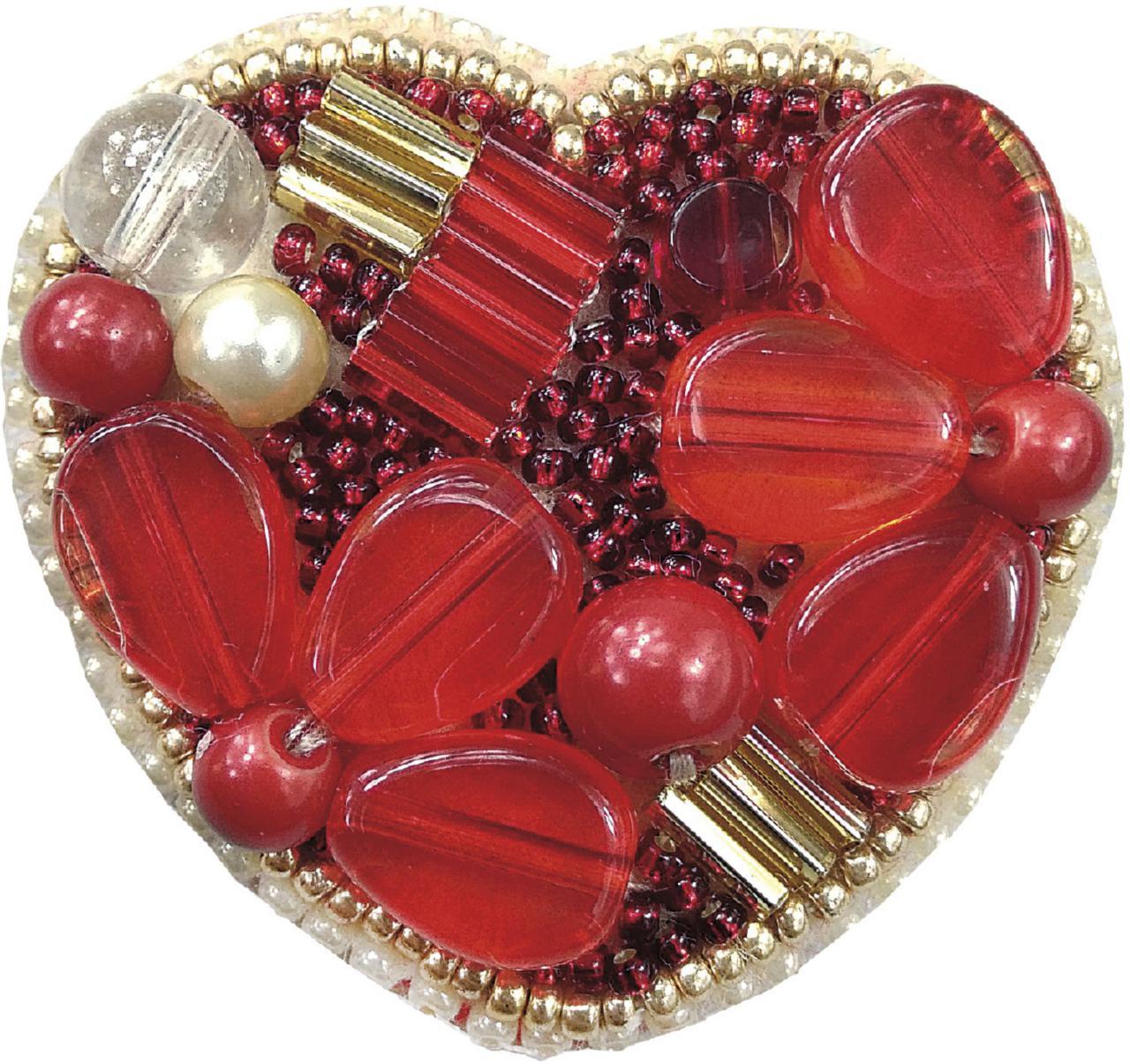БП-200 Набор для изготовления броши Crystal Art Сердце купить брошь в Беларуси
